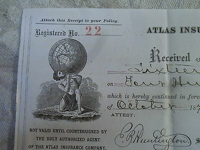 Atlas INSURANCE Co HARTFORD 1876 ORIGINAL POLICY RECEIPT Dakota Territory