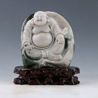 100% Natural Dushan Jade Hand-Carved Buddha statues (Including certifica) X0380