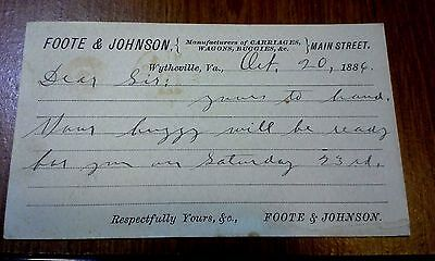 "Collectible 1886 Post Card  ""FOOTE & JOHNSON""   Wytheville, VA"