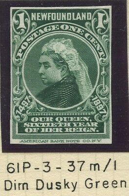 Newfoundland 1897 QV 1c green Plate Proof on India #61P VF