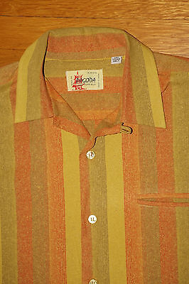 Vintage Pagoda Shirt Loop Collar Striped Raw Silk Made In Japan Deadstock M Tag