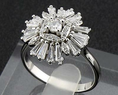 Antique Natural  Diamond  Rings 1.85ct In 14kt Solid  White Gold Size9