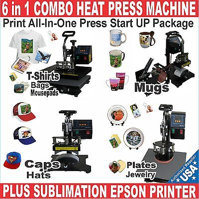 6 in 1 COMBO HEAT PRESS SUBLIMATION T,SHIRT MUG + PRINTER EPSON START UP PACKAGE