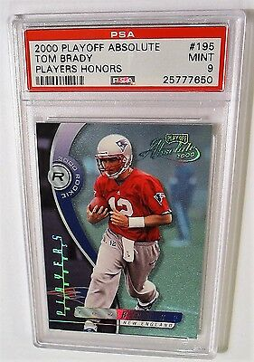 SN 07/10 POP (1) Tom Brady 2000 Playoff Absolute RC #195 Players Honors PSA 9