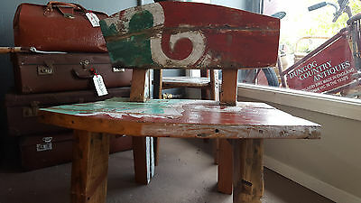 Recycled Bali  Boatwood Reclaimed Timber Bench Seat-Coastal Beach House