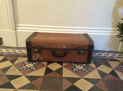 Vintage 1960s Faux Leather Steamer Trunk Storage Samson Suitcase Studded Base