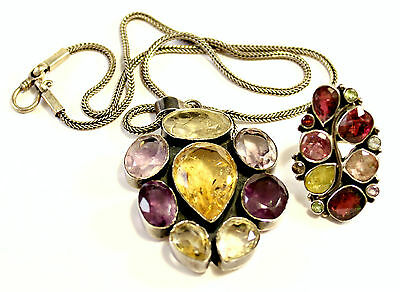 "Antique Sterling Silver 925 Citrine and Amethyst Stones Necklace 20"" w/ Ring s 8"