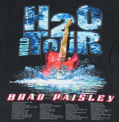 Brad Paisley H20 World Tour Black Concert T-Shirt Size Adult S GUC Country Music