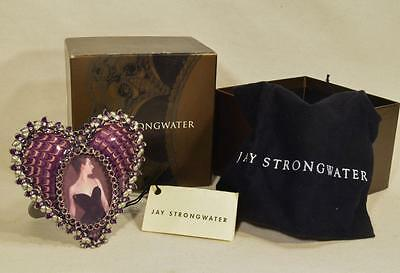 Jay Strongwater Enamel & Jeweled Dominique Heart Frame, Rich Purple