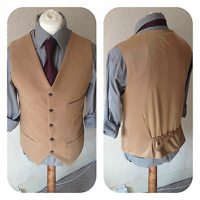Mens Camel Wool Melton Beige Cashmere Waistcoat Winter Vest Wedding Groom