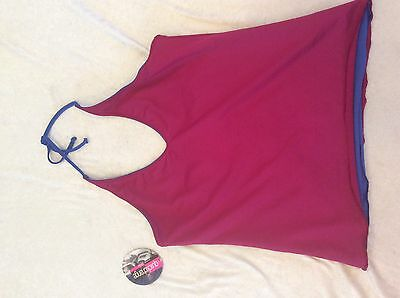 Capezio Halter Top Large Reversible Blue ruby Nwt