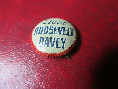 Presidential Pin - 1936 Franklin Roosevelt - Elect Roosevelt Davey Pin