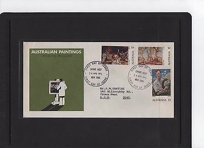 1974 Australian Paintings $1-$2- $4 First Day Cover Crows Nest NSW Cancel