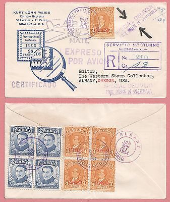 1954 Guatemala Registered Special Delivery Cover To Stamp Newspaper Usa
