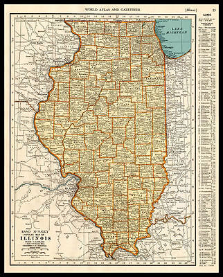 U.S. State ILLINOIS Chicago 1937 antique color lithograph Map