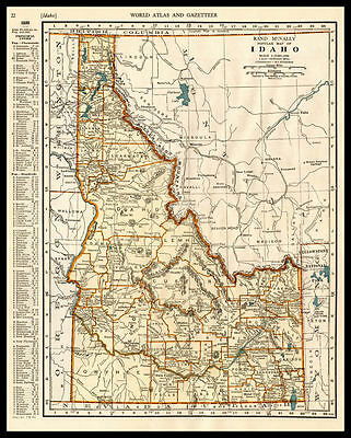 U.S. State IDAHO Snake River Boise 1937 antique color lithograph Map
