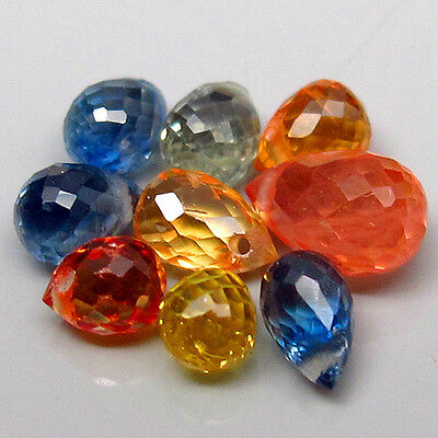 HI-CLASSIC SET! 3.30ct.High Fancy Mixed Color Sapphire Africa Briolette 4x2mm.