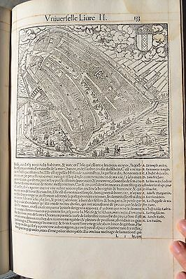 1552 Munster Cosmographia Map City Plan Amsterdam Holland Lots Of Large Ships