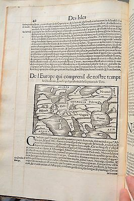 1552 Munster Cosmographie Map Of Europe France Spain Germany