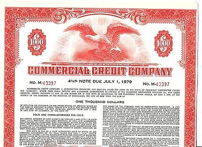 $1000 FACE OLD CANCELED 4 3/4% BOND CERTIFICATE COMMERCIAL CREDIT Co.