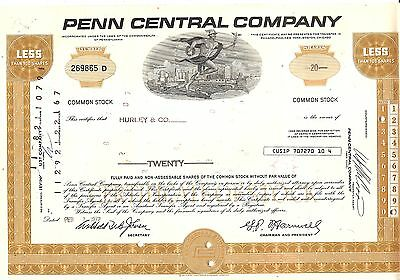20sh 1972 OLD CANCELED STOCK CERTIFICATE PENN CENTRAL CO