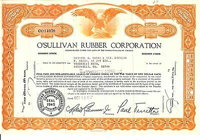 29sh 1967 OLD CANCELED STOCK CERTIFICATE O'SULLIVAN RUBBER CORP