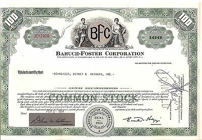 100sh 1964 OLD CANCELED STOCK CERTIFICATE BARUCH-FOSTER, CORP.