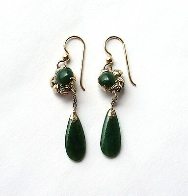 Art Deco Gold Vermeil Spinach Green Chinese Jade Drop Earrings - converted wires