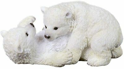 "6.25"" Polar Bear Cubs Playing Statue Figurine Animal Home Decor Figure"