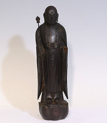 Japanese Vintage Black Colour Wood Statue w/ a Spear 仏像/Free Shipping/o10380eb