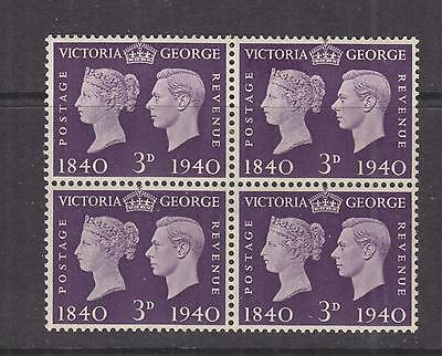 GREAT BRITAIN, 1940 Stamp Centenary 3d. Violet, block of 4, mnh./lhm.