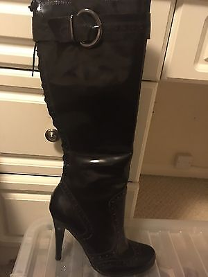 New dune Black Patent High Boots Size 38 UK 5