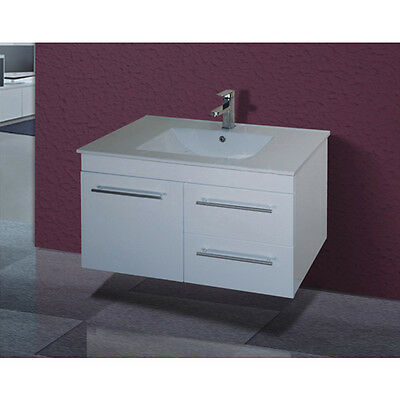 900mm Bathroom Vanity Wall Hung Ceramic Basin Cabinet Unit LEFT/RIGHT Drawers