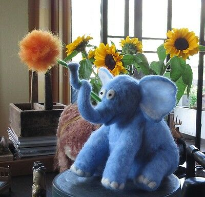 Needle Felted Blue Elephant - Inspired by Dr. Seuss Horton Hears a Who.