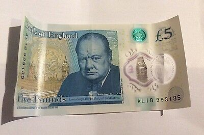 """new 5 pound note . Very Rare Find """"AL1"""" Serial Number"""