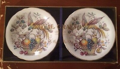 Royal Grafton x 2 Dishes Boxed  Collectable Bird And Fruit Design