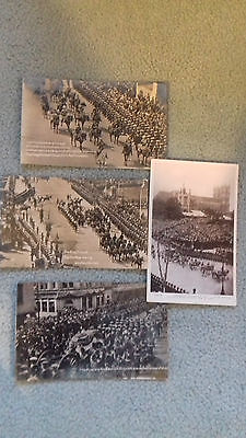 4 Photo Postcards from 1910 funeral of Edward VII & 1911 Coronation of George V