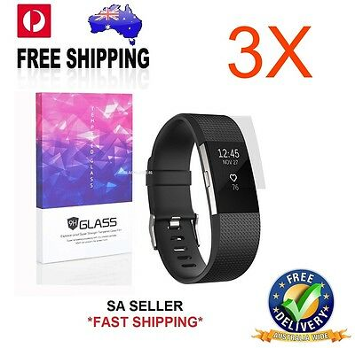 3 x High Definition Ultra Clear 9H Glass Screen Protector For Fitbit Charge 2