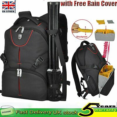 DSLR Camera Laptop Rucksack Backpack Bag Case Free Rain Cover For Canon Nikon
