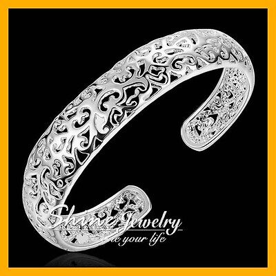 925 Sterling Silver Filled 13MM Wide FILIGREE Chunky Bracelet Bangle Ladies CUFF