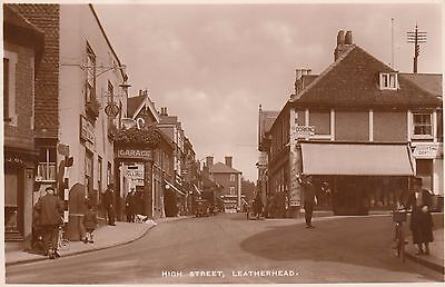 High Street, Leatherhead, Surrey, Real photo, old postcard, posted 1938