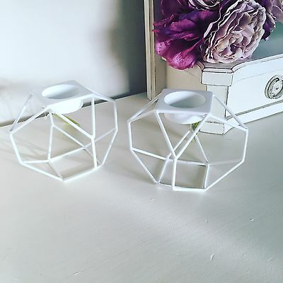 A Pair Candle Holder White Geometric Tea Light Candle Holders