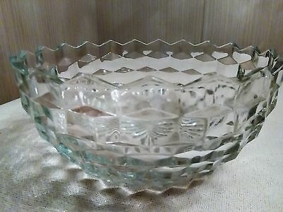 """Indiana Glass Co. American Whitehall Cube Glass Vegetable Bowl 9"""""""