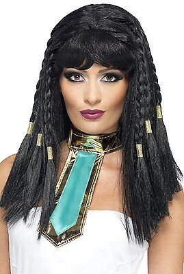 Cleopatra Egyptian Wig Ladies Queen Fancy Dress Black Gold Braided Hair Smiffys