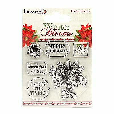 Dovecraft Winter Blooms Clear Stamps - Poinsettias