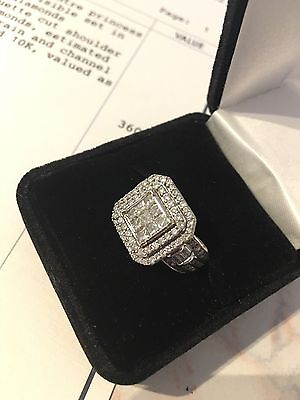 Stunning White Gold 2ct Diamond Cluster Cocktail Engagement Ring Valuation $3600