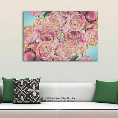 Gold Pink Rose Flowers Canvas Prints Framed Wall Art Home Decor Painting Gift