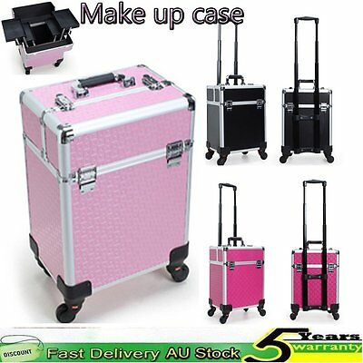 Pro Cosmetic Makeup Trolley Case Professional Travel Carry Beauty Box Salon AU