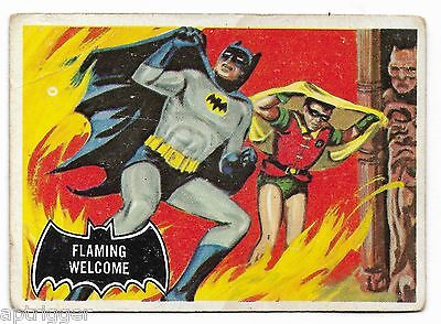 1966 Topps BATMAN Black Bat (51) Flaming Welcome