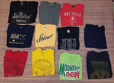 Lot of 11 Mens T-shirts Size L Large XL XLarge Shirts Graphic Tees